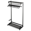 "Quartet Single-Sided Rack w/Two Shelves, 12 Hangers, Steel, 48"" Wide, Black"