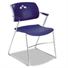 Safco Veer Series Stacking Chair With Arms, Sled Base, Blue/Chrome, 4/Carton