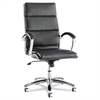 Neratoli Series High-Back Swivel/Tilt Chair, Black Leather, Chrome Frame