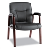 Alera Madaris Series Leather Guest Chair w/Wood Trim, Four Legs, Black/Mahogany