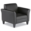 Reception Lounge Series Club Chair, Black/Black Leather