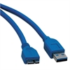 USB 3.0 Device Cable, USB 3.0 A/USB 3.0 Micro-B, 3 ft, Blue