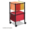 Safco Two-Tier Compact Mobile Wire File Cart, Steel, 15-1/2w x 14d x 27-1/2h, Black