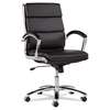 Alera Alera Neratoli Series Mid-Back Swivel/Tilt Chair, Black Leather, Chrome Frame