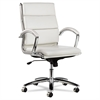 Alera Alera Neratoli Mid-Back Swivel/Tilt Chair, White Faux Leather, Chrome Frame