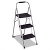 3-Step Big Step Folding Stool, 200lb, 17 3/4w x 28d x 45 5/8h, Platinum