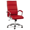 Alera Alera Neratoli Series HighBack Swivel/Tilt Chair, Red Soft Leather, Chrome Frame