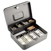 Steelmaster Tiered Cash Box w/Bill Weights, Cam Key Lock, Charcoal