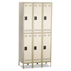 Double-Tier, Three-Column Locker, 36w x 18d x 78h, Two-Tone Tan