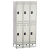 Double-Tier, Three-Column Locker, 36w x 18d x 78h, Two-Tone Gray