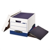 Bankers Box BINDERBOX Storage Box, Locking Lid, 12 1/4 x 18 1/2 x 12, White/Blue, 12/Carton