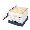 Bankers Box STOR/FILE Max Lock Storage Box, Letter/Legal, White/Blue, 12/Carton