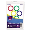 "Printable Removable Color-Coding Labels, 1 1/4"" dia, Assorted Borders, 400/BX"