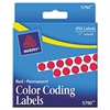 "Permanent Self-Adhesive Round Color-Coding Labels, 1/4"" dia, Red, 450/Pack"