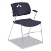Veer Series Stacking Chair With Arms, Sled Base, Black/Chrome, 4/Carton