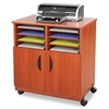 Safco Laminate Machine Stand w/Sorter Compartments, 28w x 19-3/4d x 30-1/4h, Cherry