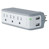 Wall Mount Surge Protector, 3 Outlets/2 USB Ports, 918 Joules, Gray/White