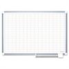 Gridded Magnetic Porcelain Planning Board, 1 x 2 Grid, 72 x 48, Aluminum Frame