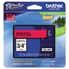 "Brother P-Touch TZe Standard Adhesive Laminated Labeling Tape, 3/4""w, Black on Red"