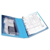 "Mini Protect & Store View Binder w/Round Rings, 8 1/2 x 5 1/2, 1"" Cap, Blue"