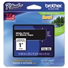 "Brother P-Touch TZe Standard Adhesive Laminated Labeling Tape, 1""w, White on Black"