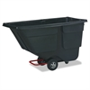 Rubbermaid Commercial Rotomolded Tilt Truck, Rectangular, Plastic, 600lb Cap, Black