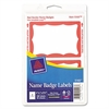 Printable Self-Adhesive Name Badges, 2 1/3 x 3 3/8, Red Border, 100/Pack