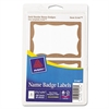 Avery Printable Self-Adhesive Name Badges, 2-11/32 x 3-3/8, Gold Border, 100/Pack