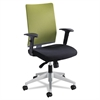 Tez Series Manager Synchro-Tilt Task Chair, Green Mesh Back, Black Fabric Seat