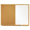 Quartet Bulletin/Dry-Erase Board, Melamine/Cork, 36 x 24, White/Brown, Oak Finish Frame