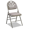 Cosco Fabric Padded Seat/Molded Fan Back Folding Chair, Kinnear Taupe, 4/Carton