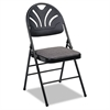 Cosco Fabric Padded Seat/Molded Fan Back Folding Chair, Kinnear Black, 4/Carton