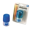 Officemate Twin Pencil/Crayon Sharpener with Cap, Blue