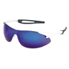 Crews Inertia Safety Glasses, White Frame, Blue Diamond Mirror Lens, One Size