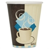 Duo Shield Insulated Paper Hot Cups, 8oz, Tuscan, Chocolate/Blue/Beige, 1000/Ct