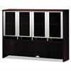Mayline Napoli Series Assmbld Hutch w/Glass Doors, 72w x 15d x 50-1/2h, Mahogany