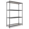 Alera Industrial Heavy-Duty Wire Shelving Starter Kit, 4-Shelf, 48w x 18d x 72h, Black
