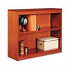 Alera Square Corner Wood Bookcase, Two-Shelf, 35-5/8w x 11-3/4d x 30h, Medium Cherry