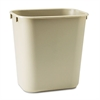 Rubbermaid Commercial Deskside Plastic Wastebasket, Rectangular, 3 1/2 gal, Beige