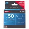 "T50 Heavy Duty Staples, 3/8"" Leg, 1250/Pack"