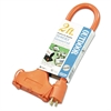 CCI Tri-Source Vinyl Multiple Outlet Cord, 3-Way, 2ft, AWG 12/3, SJTW-A, Orange