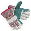 Men's Economy Leather Palm Gloves, White/Red, Large, 12 Pairs