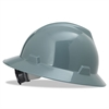 MSA V-Gard Full-Brim Hard Hats, Ratchet Suspension, Size 6 1/2 - 8, Gray