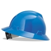 MSA V-Gard Full-Brim Hard Hats, Ratchet Suspension, Size 6 1/2 - 8, Blue