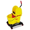 Rubbermaid Commercial WaveBrake Dual-Water Down-Press Bucket/Wringer Combo, 8.75gal, Yellow