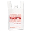 T-Shirt Thank You Bag, 12 x 7 x 23, 14 Microns, White, 500/Carton
