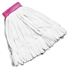 Rough Floor Wet Mop Head, Large, Cotton/Synthetic, White, 12/Carton
