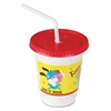 Plastic Kids' Cups with Lids/Straws, 12 oz., Critter Print, 250/CT