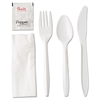 Wrapped Cutlery Kit, Fork/Knife/Spoon/Napkin/Salt/Pepper, White, 250/Carton