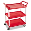 Rubbermaid Commercial Service Cart, 200-lb Cap, Three-Shelf, 18-5/8w x 33-5/8d x 37-3/4h, Red